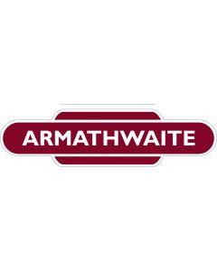 Metal totem-style station sign: Armathwaite