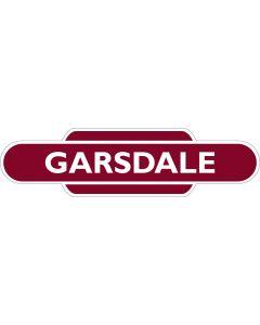 Metal totem-style station sign: Garsdale