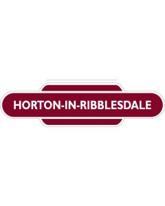 Metal totem-style station sign: Horton-In-Ribblesdale