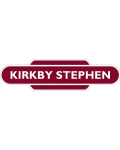 Metal totem-style station sign: Kirkby Stephen
