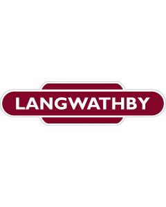 Metal totem-style station sign: Langwathby