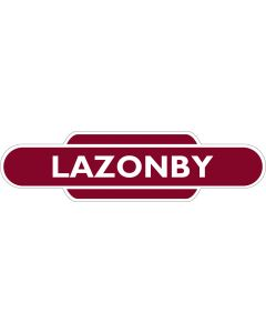 Metal totem-style station sign: Lazonby & Kirkoswald