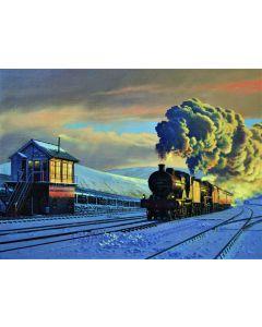 Christmas Card - Steam in the Snow Blea Moor - Single Card