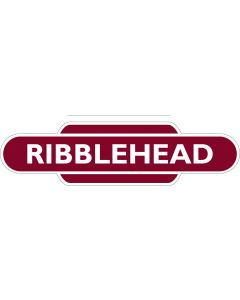 Metal totem-style station sign: Ribblehead