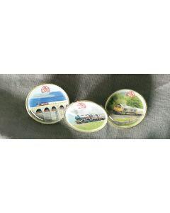 Round metal badges
